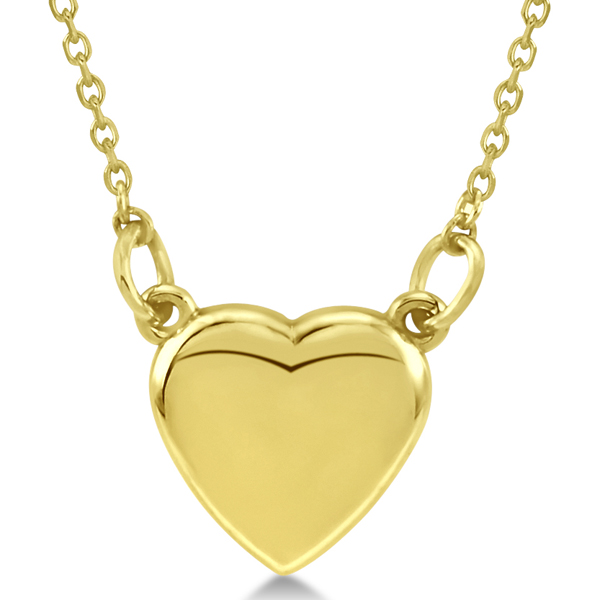 Women's Heart Necklace with 18 inch Chain Crafted of 14k Yellow Gold