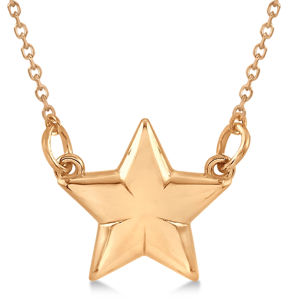 Shining Star Pendant w/ 18 inch Cable Chain in 14k Rose Gold