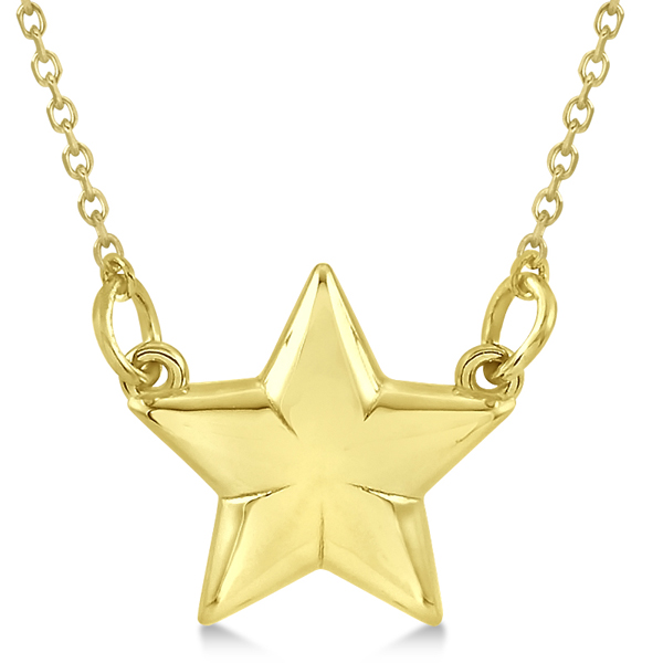 Shining Star Pendant w/ 18 inch Cable Chain in 14k Yellow Gold
