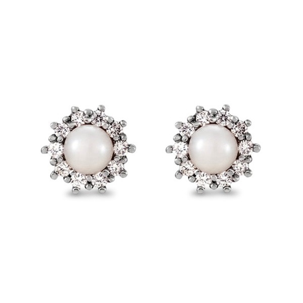 Freshwater Cultured Pearl Studs w/Diamond Cluster 14k W. Gold 0.33ct