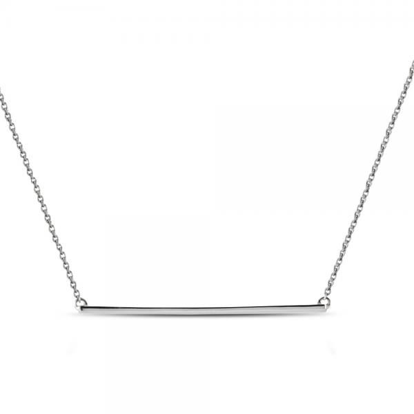 Horizontal Thin Straight Bar Pendant Necklace 14k White Gold