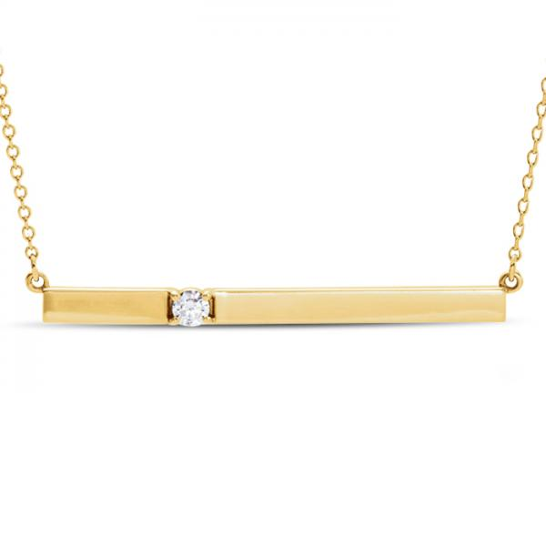 horizontal bar necklace with diamond accent 14k yellow. Black Bedroom Furniture Sets. Home Design Ideas