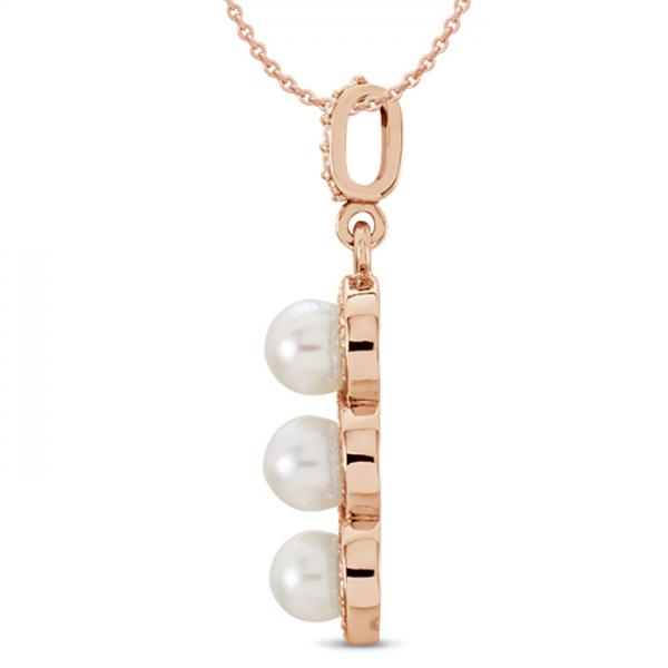 3 Stone Freshwater Pearl & Halo Diamond Pendant 14k Rose Gold 0.20ct