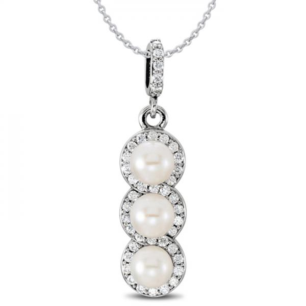 3 Stone Freshwater Pearl & Halo Diamond Pendant 14k White Gold 0.20ct