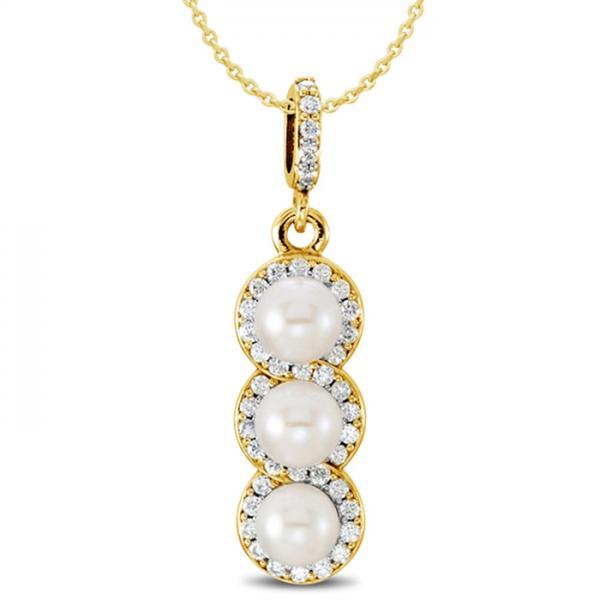 3 Stone Freshwater Pearl & Halo Diamond Pendant 14k Yellow Gold 0.20ct