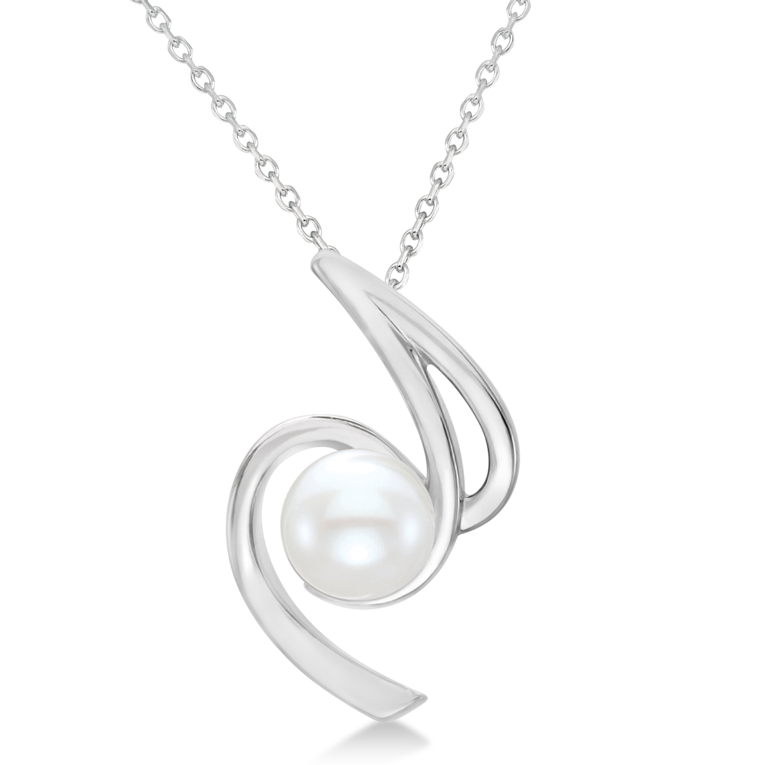 Freeform Cultured Freshwater Pearl Pendant 14k White Gold