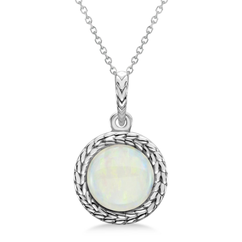 Bezel Set Opal Birthstone Pendant Necklace 14k White Gold (1.30ct)