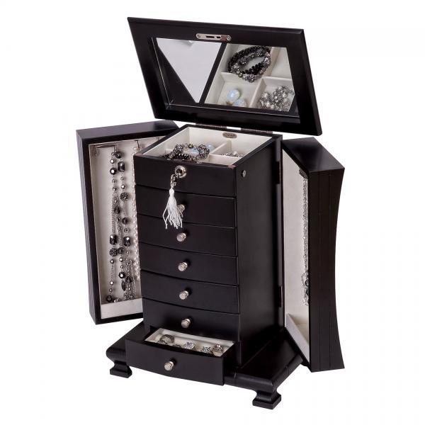Java Finish Upright Wooden Jewelry Box. Drawers, Mirror, Locking Top