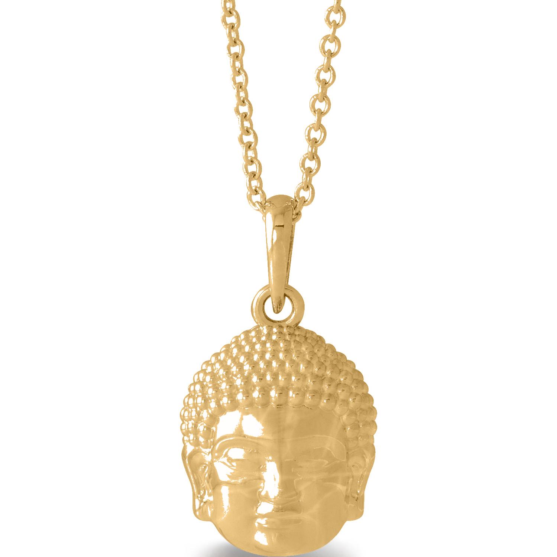 Buddha Head Pendant Necklace 14k Yellow Gold