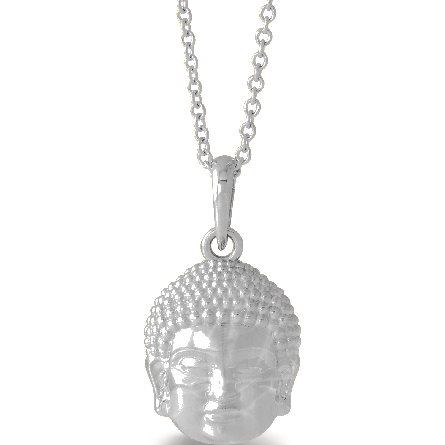 Buddha Head Pendant Necklace Sterling Silver