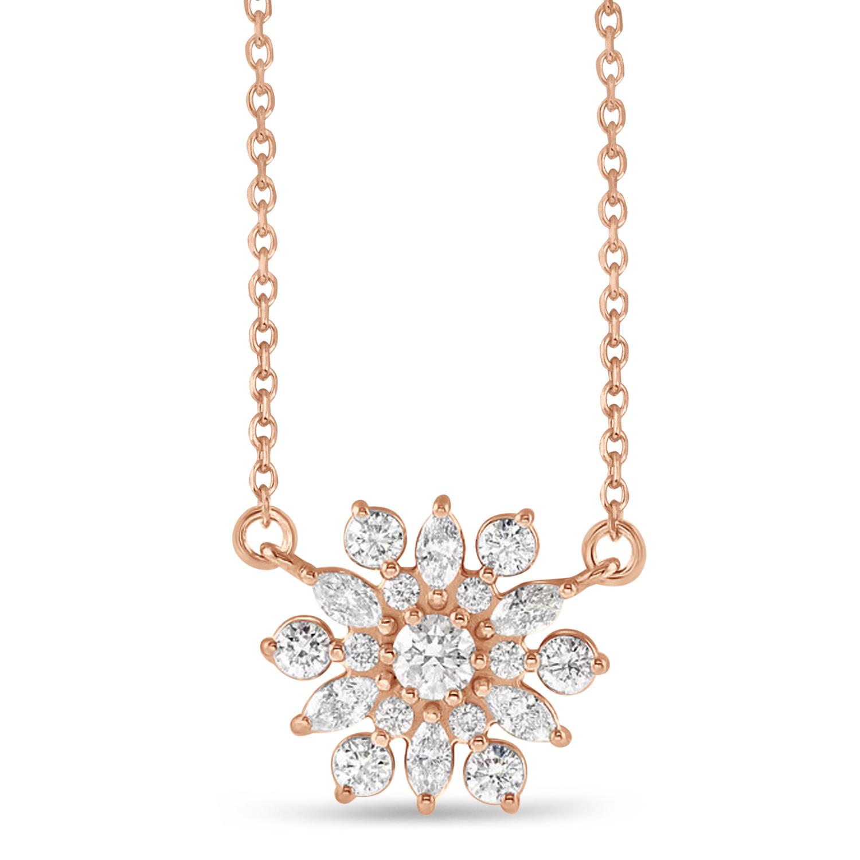 Diamond Sun-Shaped Vintage-Inspired Pendant Necklace 14k Rose Gold (0.5ct)