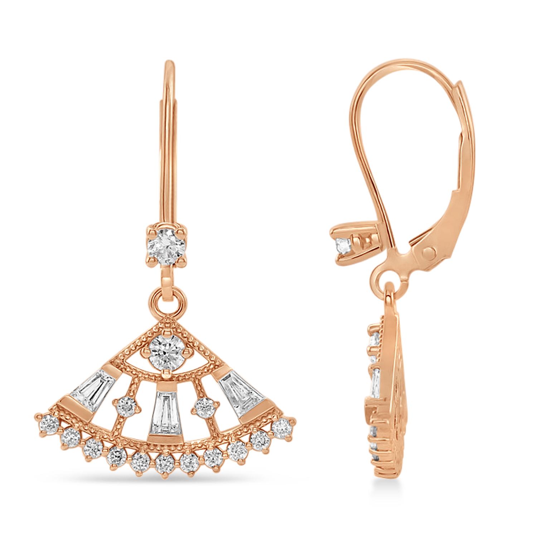 Diamond Lever Back Fan Earrings  14k Rose Gold (0.75 ctw)