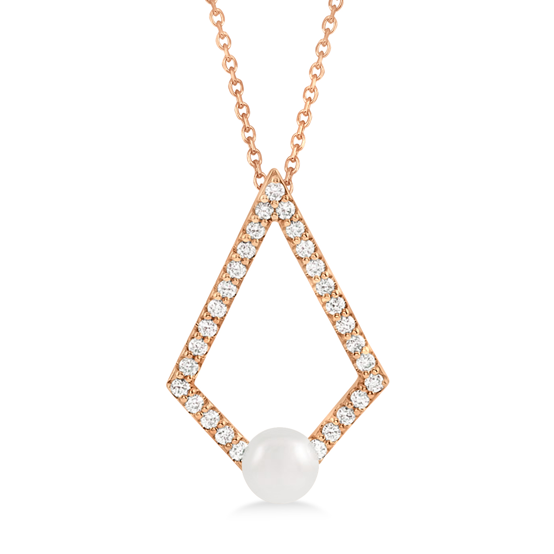 Pearl & Diamond Geo Pendant Necklace 14k Rose Gold (5-5.5mm)