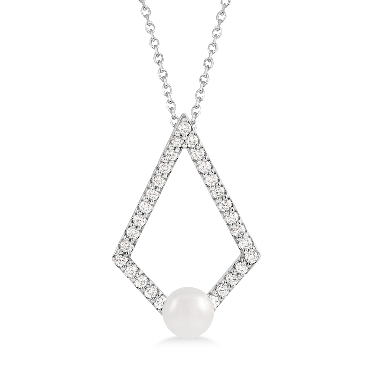 Pearl & Diamond Geo Pendant Necklace 14k White Gold (5-5.5mm)
