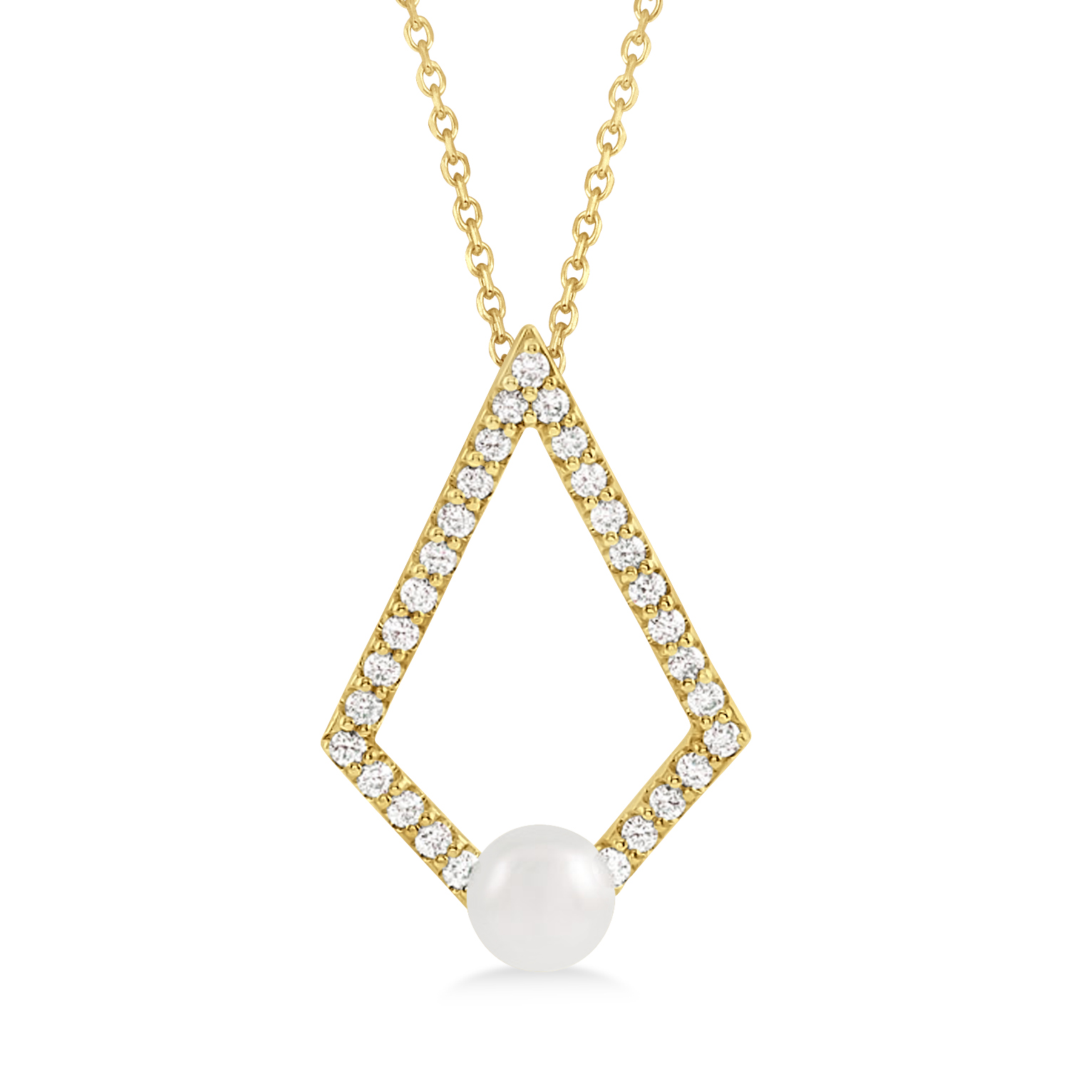 Pearl & Diamond Geo Pendant Necklace 14k Yellow Gold (5-5.5mm)