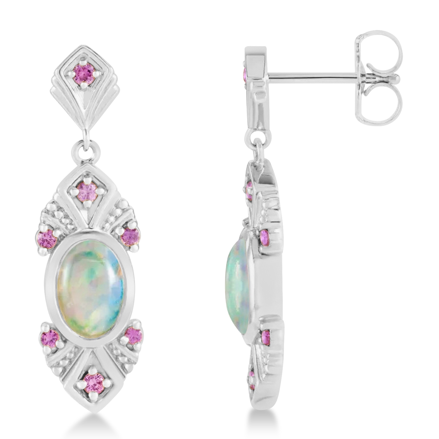 Opal & Pink Sapphire Vintage-Inspired Earrings 14k White Gold (1.11ct)