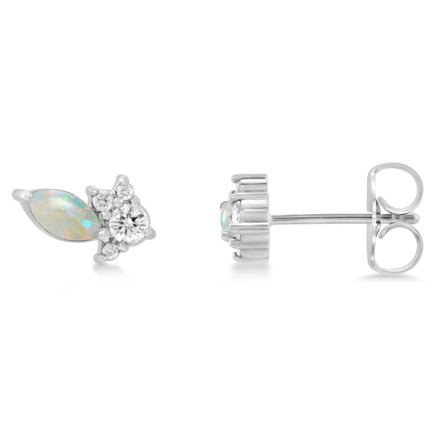 Diamond Opal Cluster Earrings 14k White Gold (0.48ct)