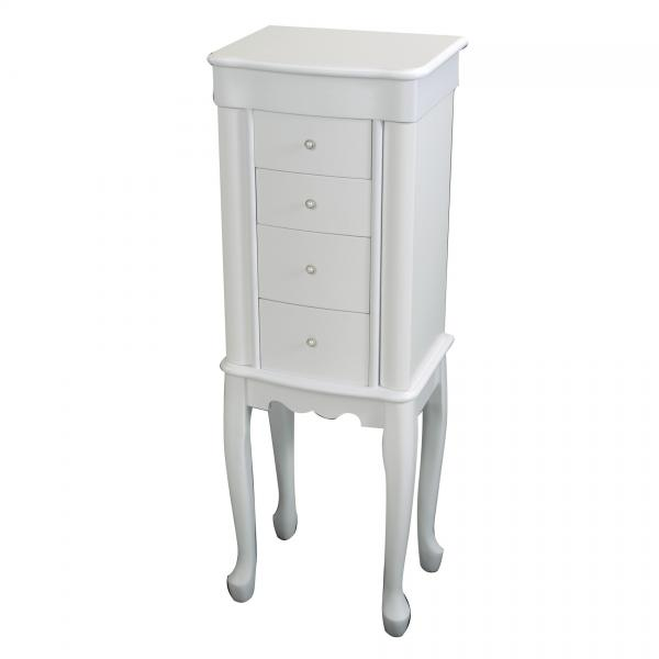 Women's Wooden Jewelry Armoire in White, Slim Standing Design
