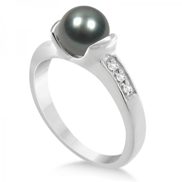 fcd7ff5546d01c Solitaire Freshwater Pearl Ring Diamond Accents 14K White Gold 7-7.5mm -  PI45