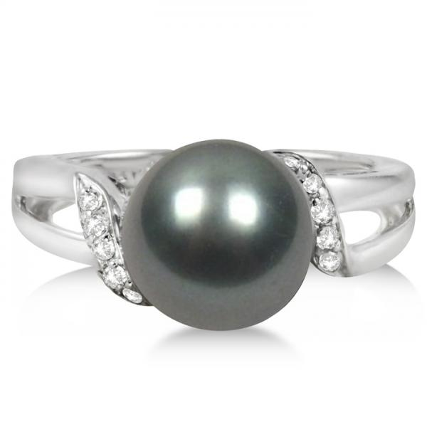 Cultured Tahitian Pearl Ring with Diamonds 14K White Gold 9-10mm