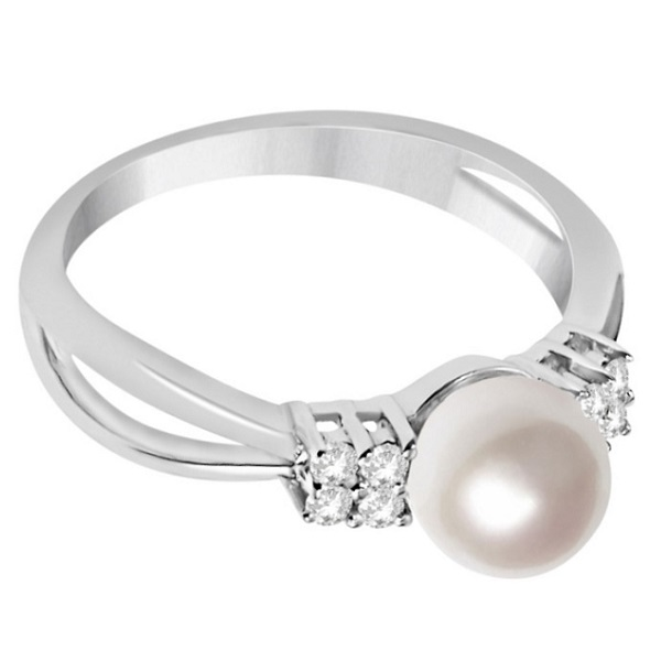 Diamond Accented Akoya Cultured Pearl Ring 14K White Gold 6.5-7mm