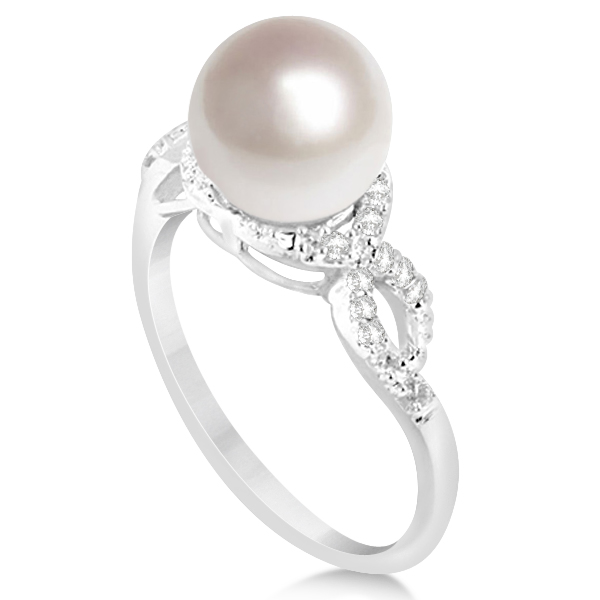 Freshwater Cultured Pearl Ring w/ Diamonds 14k White Gold 8.5-9mm