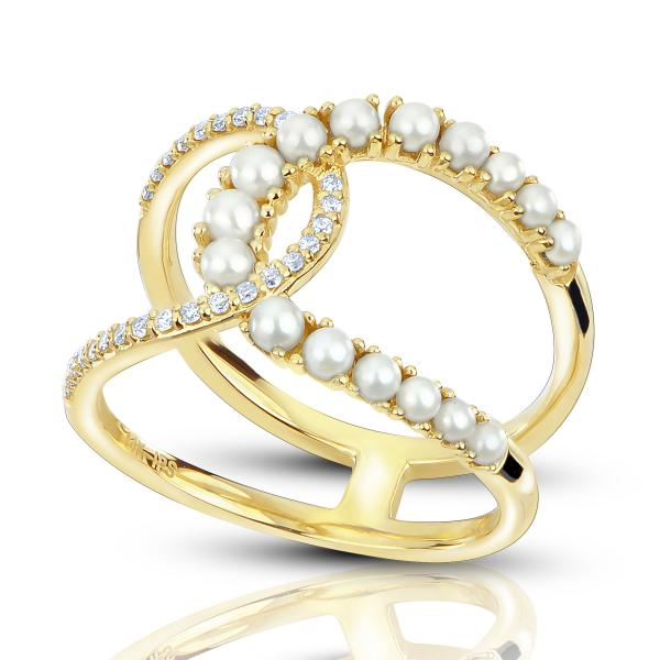 Pearl Double Bar Diamond Accented Ring 14k Yellow Gold (0.14ct)