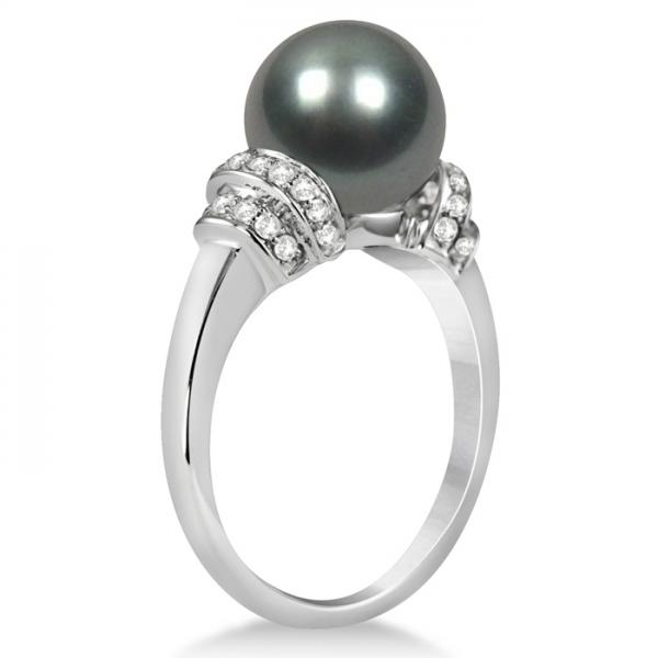 88ae670005b3aa Tahitian Black Pearl Ring with Diamond Accents 14K White Gold 9-10mm - PI55