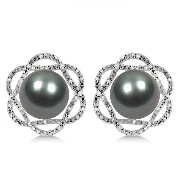 Tahitian Pearl Earrings w/ Diamond Flower Accents 14K W. Gold 10-11mm
