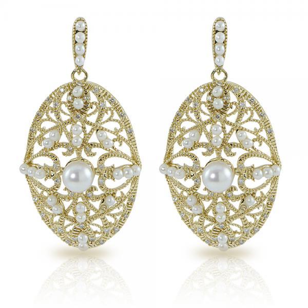 Vintage Akoya Pearl & Diamond Dangle Earrings 14k Yellow Gold 5-5.5mm