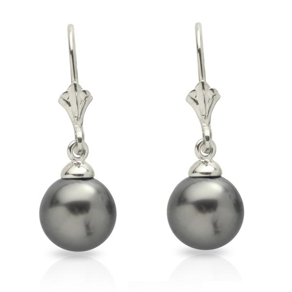 Ladies Cultured Tahitian Pearl Leverback Earrings 14k White Gold 8-9mm