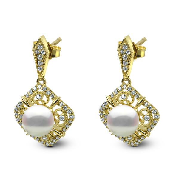 Antique Akoya Pearl Drop Earrings w/ Diamonds in 14k Y. Gold (0.33ct)