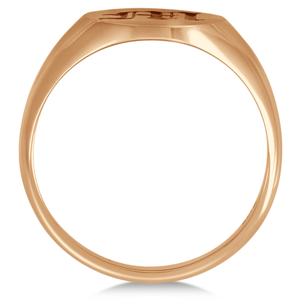 Men's Oval Engraved Monogram Signet Ring 14k Rose Gold