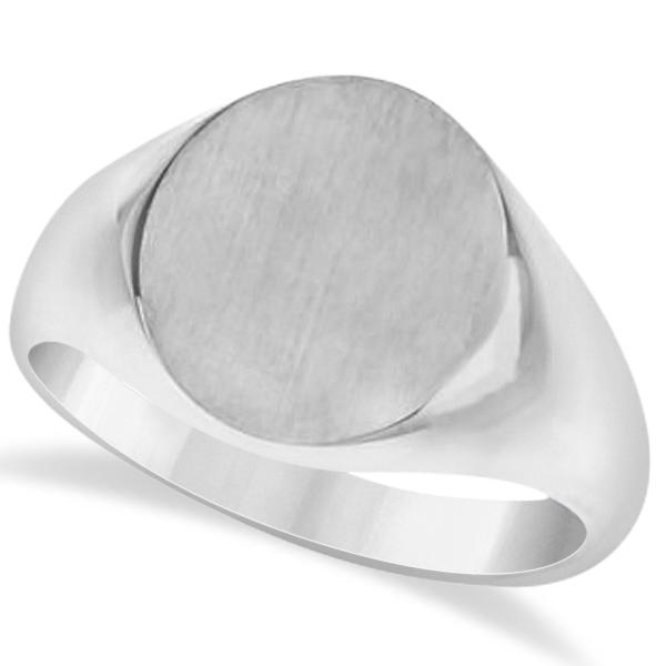 Men's Oval Engraved Monogram Signet Ring 14k White Gold