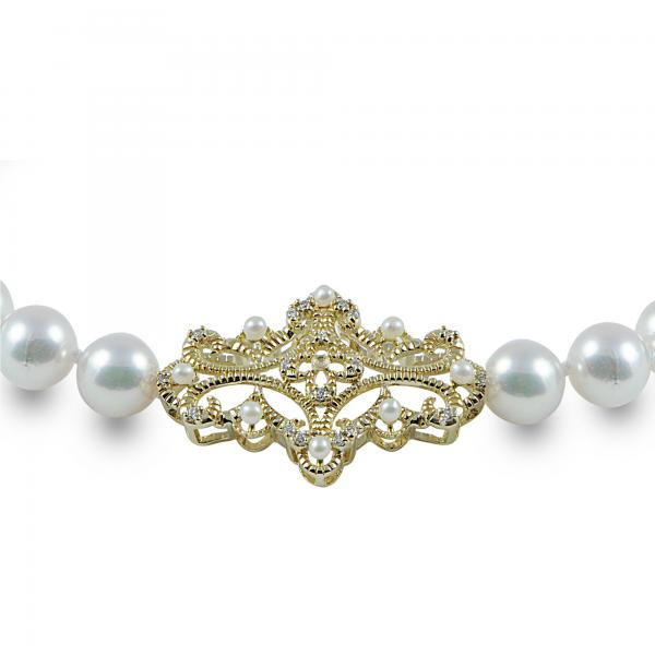 Diamond Accented Akoya Pearl Strand Bracelet 14k Yellow Gold 6.5-7mm