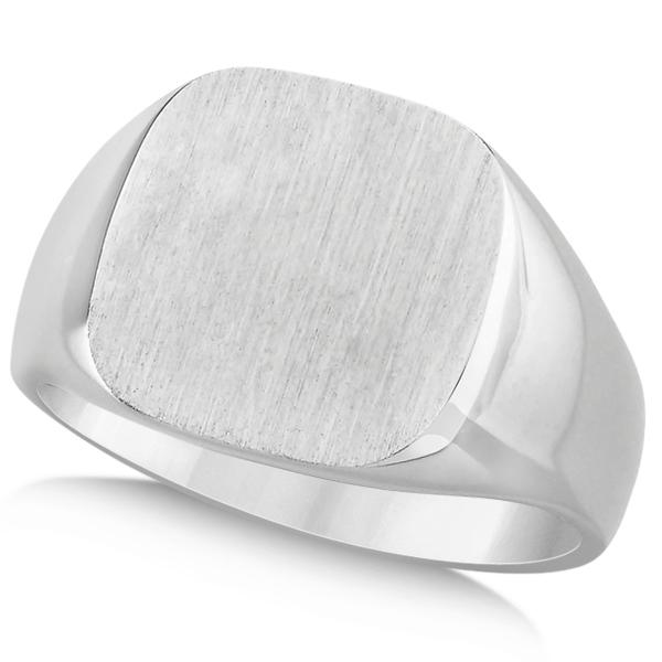 Men's Square Engraved Monogram Signet Ring 14k White Gold