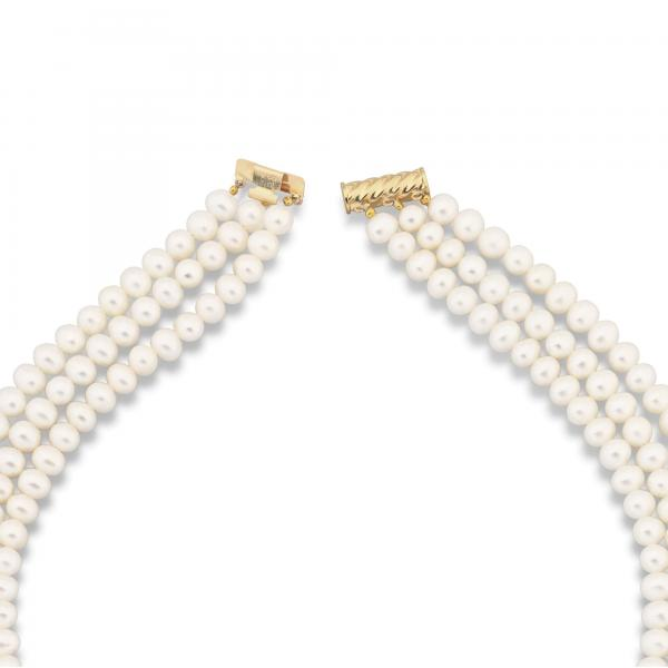 Triple Strand Freshwater Pearl Necklace in 14k Yellow Gold 5.5-6mm
