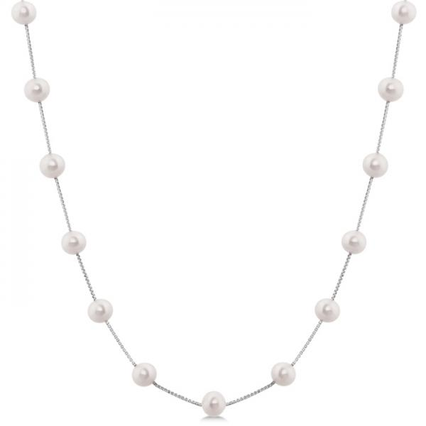 Cultured Freshwater Pearl Station Necklace 14K White Gold 5.5-6mm