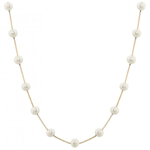 Cultured Freshwater Pearl Station Necklace 14K Yellow Gold 5.5-6mm