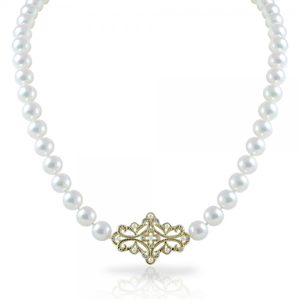 Akoya Pearl Strand Necklace with Diamonds in 14k Yellow Gold 5.6-7mm