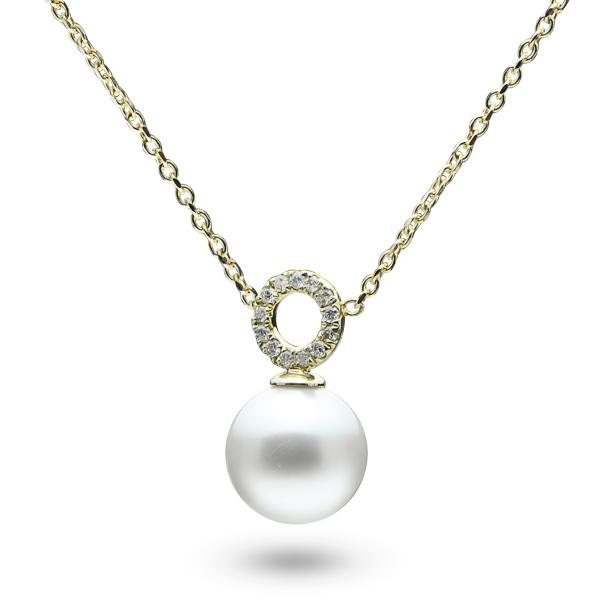 Single Pearl Pendant Necklace w/ Diamonds 14k Yellow Gold (0.06ct)