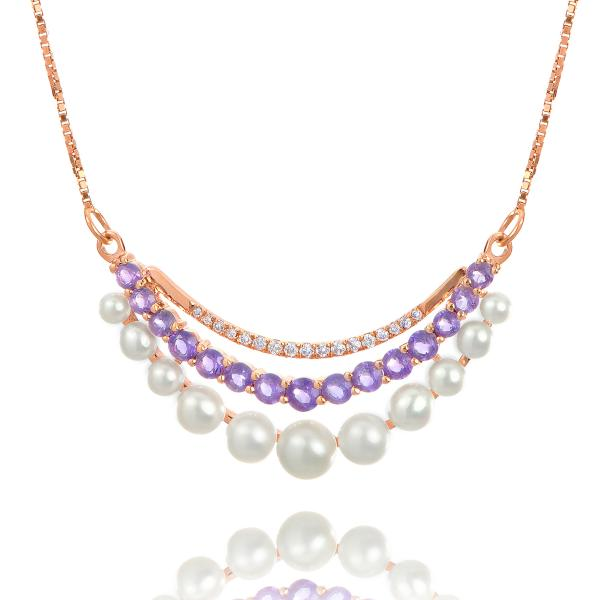 Three Strand Pearl, Diamond & Amethyst Necklace 14k Rose Gold 0.55ct