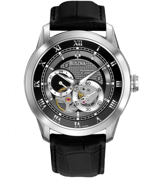 Bulova Men's Automatic Stainless Steel Black Leather Strap Watch