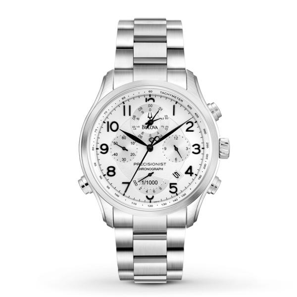 Bulova Men's Silver Dial Chronograph Stainless Steel Bracelet Watch