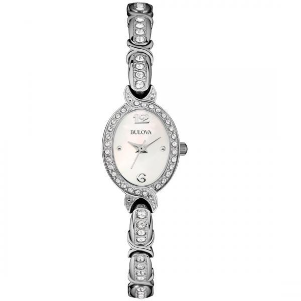 Bulova Women's Swarovski Crystal Oval Stainless Steel Watch Quartz