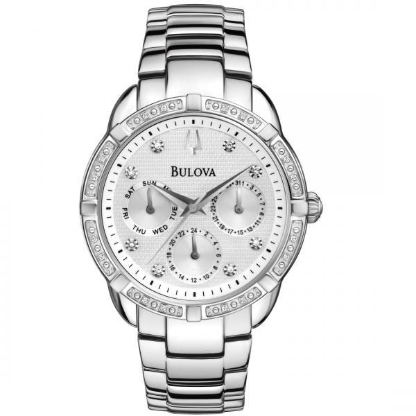 Bulova Women's Silver Dial Chronograph Diamond Accented Quartz Watch