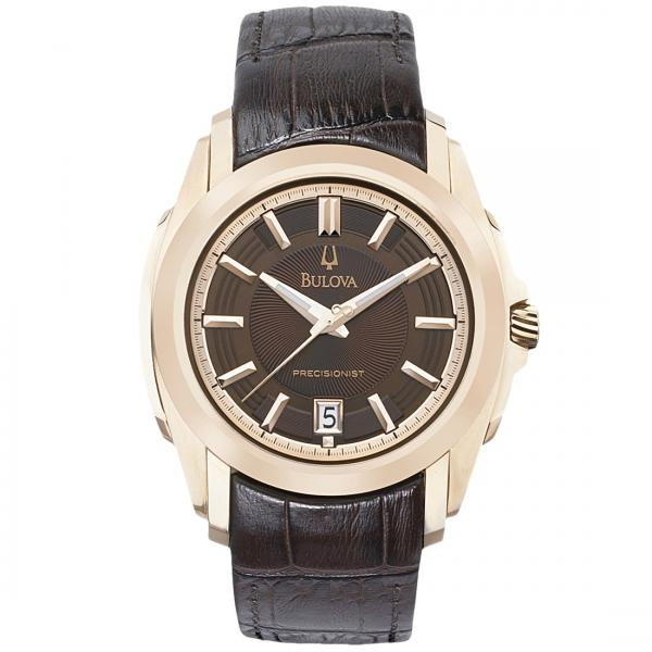 Bulova Men's Brown Dial Gold-Tone Precisionist Brown Leather Watch