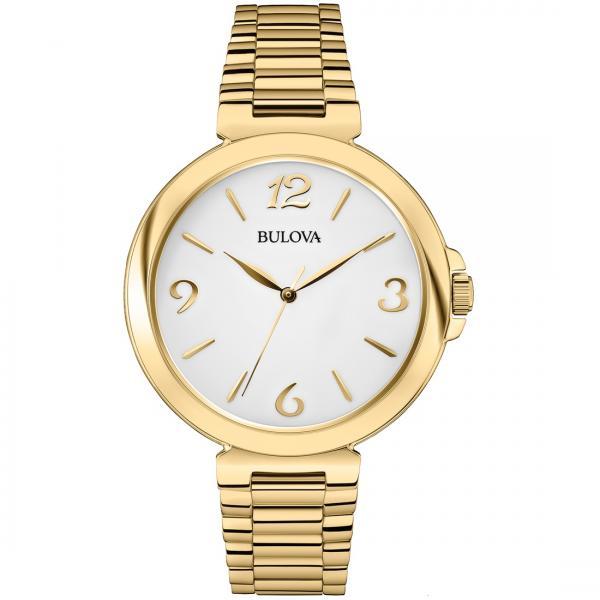 Bulova Women's White Dial Gold Tone Stainless Steel Quartz Watch