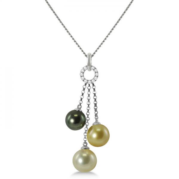 Multicolored Pearl & Diamond Pendant Necklace 14K White Gold 8-11mm