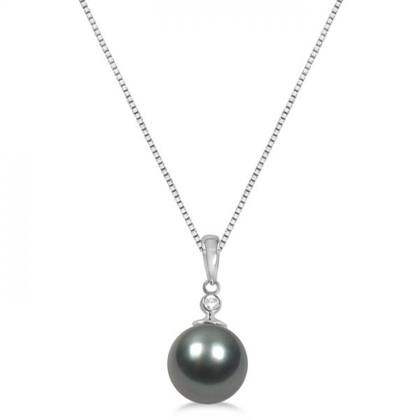 Solitaire Diamond & Tahitian Pearl Pendant 14K White Gold 10-11mm